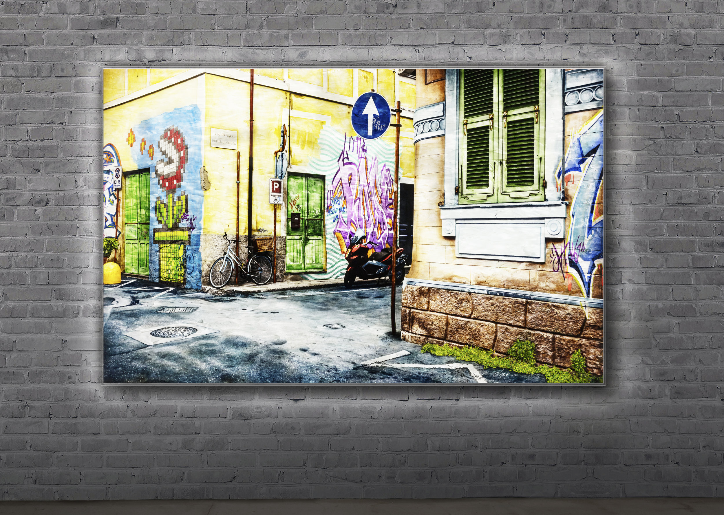 "sorry about your wall  / 40"" x 65""  Plexiglass with black & white photograph, digitally created graffiti and acrylic paint applied to the reverse side. Backlit by custom LED panel with remote control and dimmer."