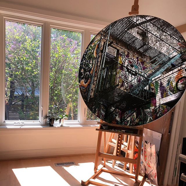 Loving the colour and scent of lilacs outside my studio window. 'Hustle the Respect' in progress. At over 4 1/2 feet in diameter this piece is just so much fun to work on. . . . #workinprogress #studiolife #artstudio #graffiti #streetart #art #artistsoninstagram #contemporaryart #photography #multimediaart