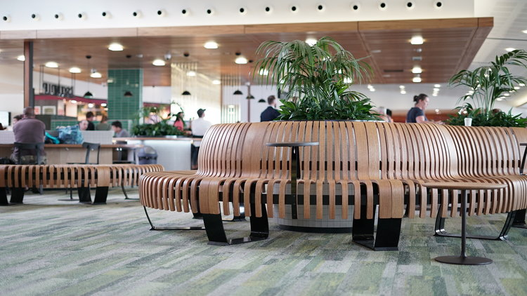 April 2019   Green furniture echoes wilderness at Hassell's airport redesign   Sustainable furniture by Green Furniture Concepts has been installed throughout the departure lounges at Hobart Airport as part of the redesign to enhance guest experience.
