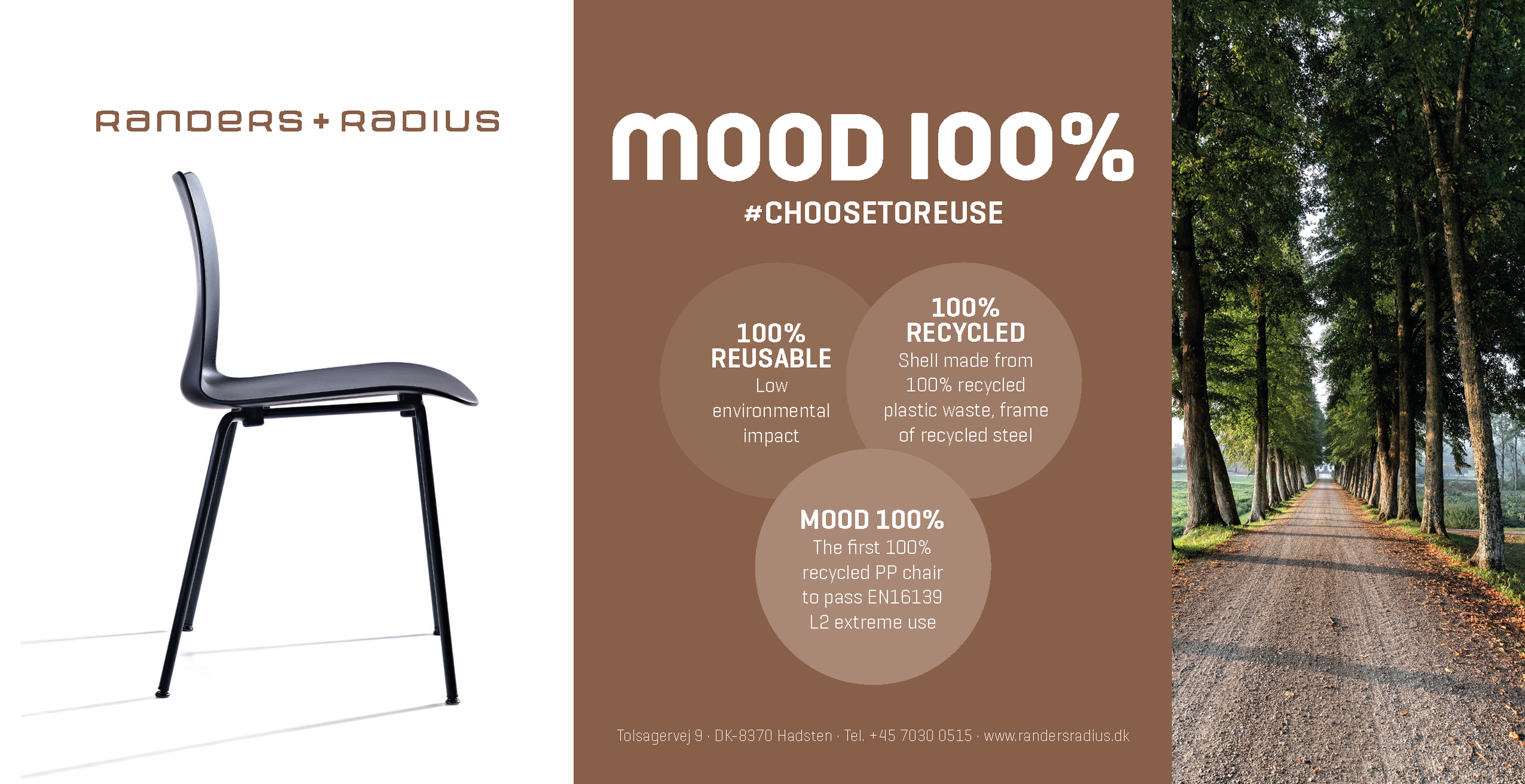 September 2019   Sustainable Chair Mood100%   The shell is made from 100% upcycled plastic waste.