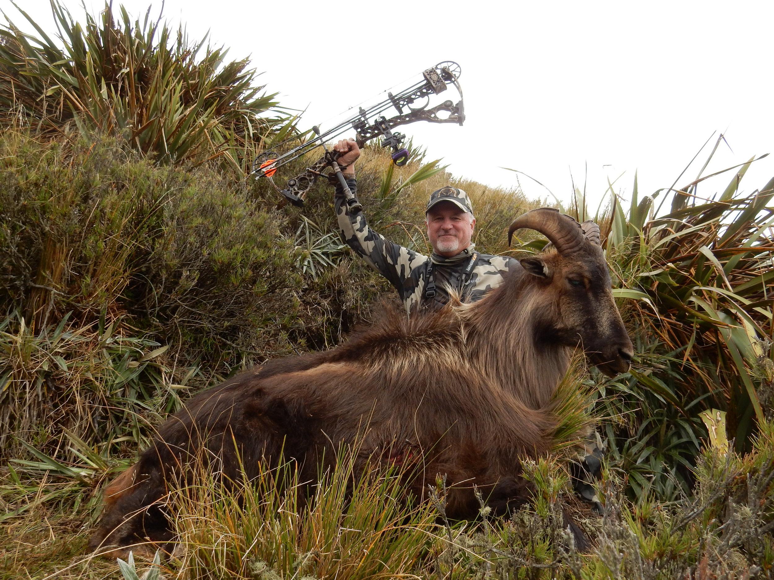 Jim Massey - successful archery Tahr hunt 2016