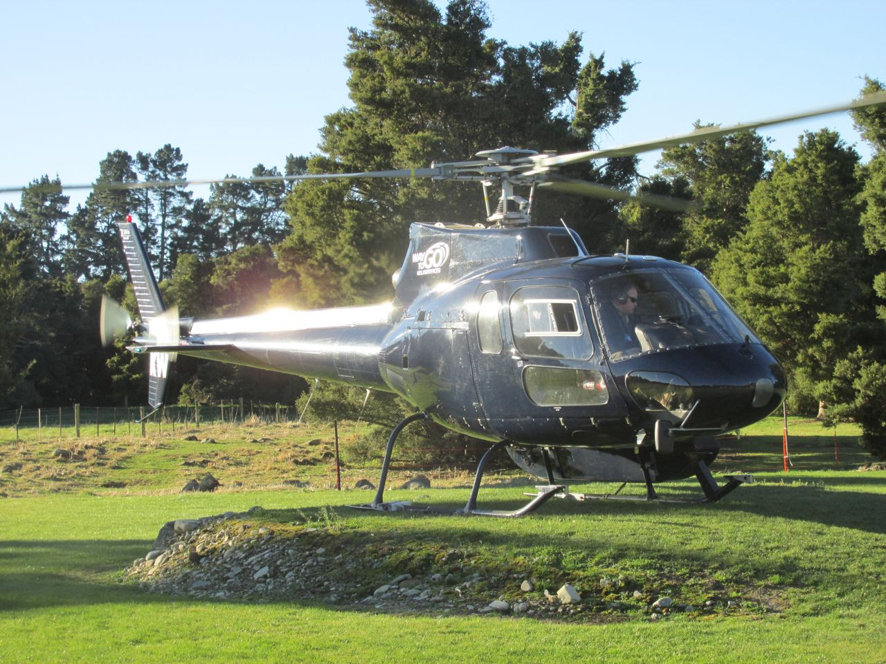 Helicopter on lodge heli-pad