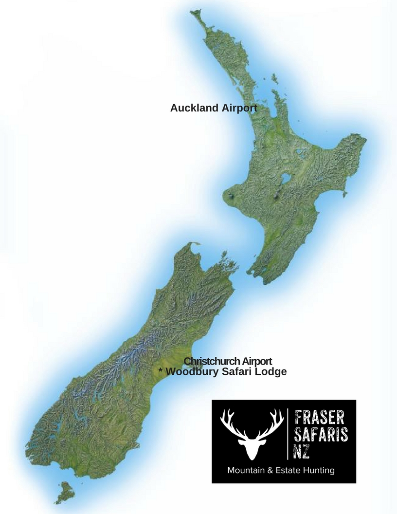 Destination airport is Christchurch. Travel time from the airport to Woodbury Safari Lodge is around 90 minutes.
