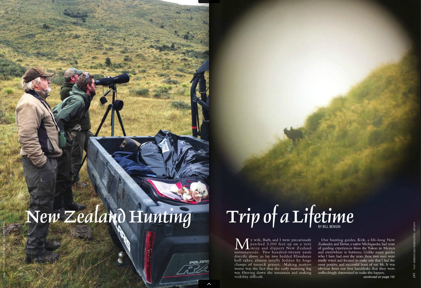 Bill's article in the Nov/Dec 2016 Safari magazine - the official publication of Safari Club International