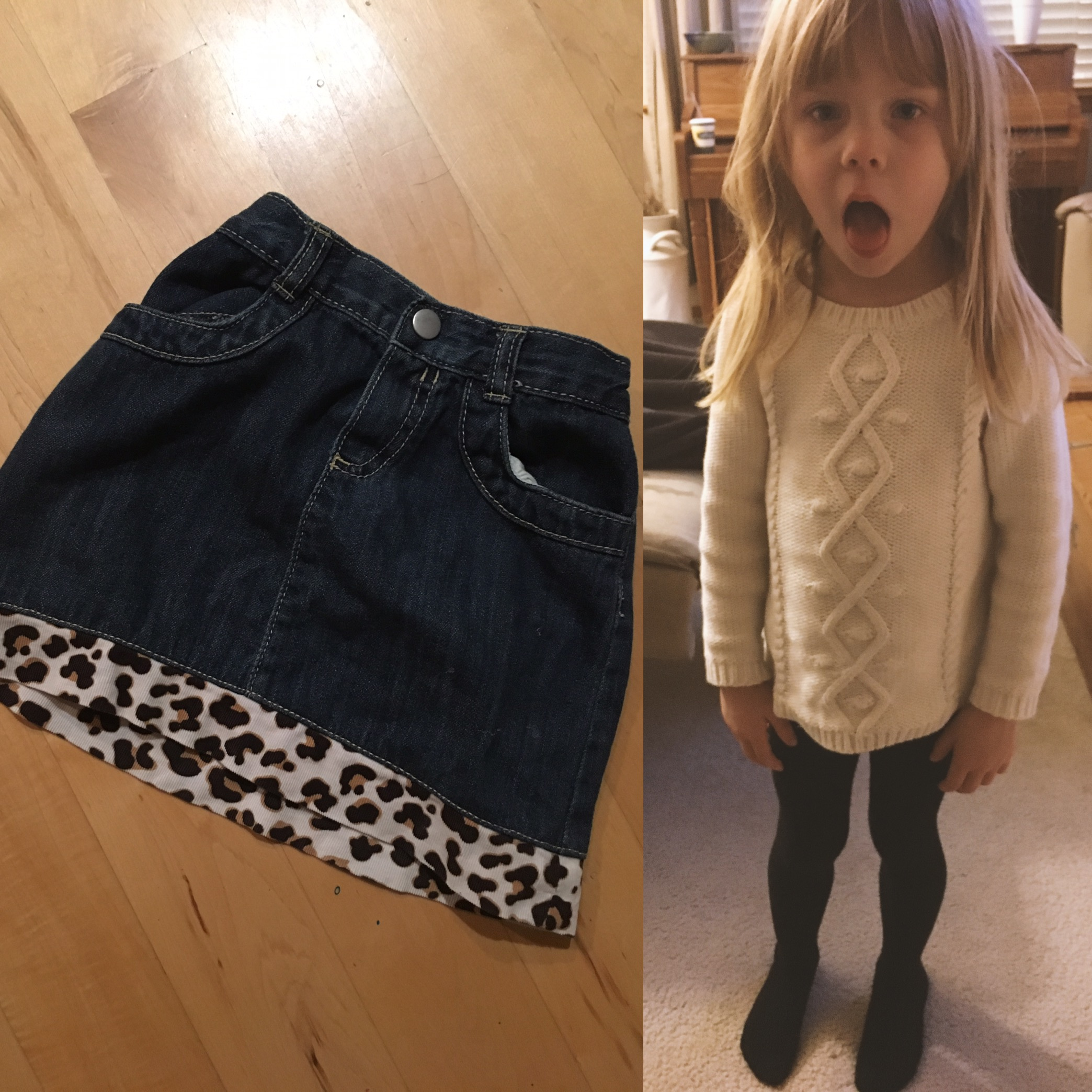 photo on left is of the returned skirt - on the right, the evening she came home sans skirt