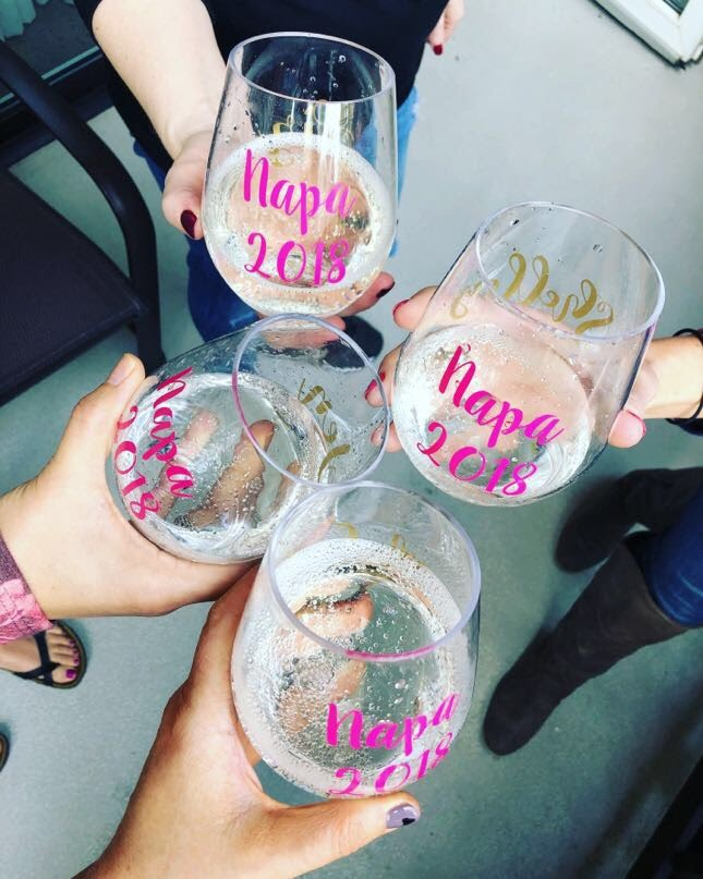 custom wine cups made by Shelley - we carried them with us on our wine tasting because you never know when you'll need a glass!