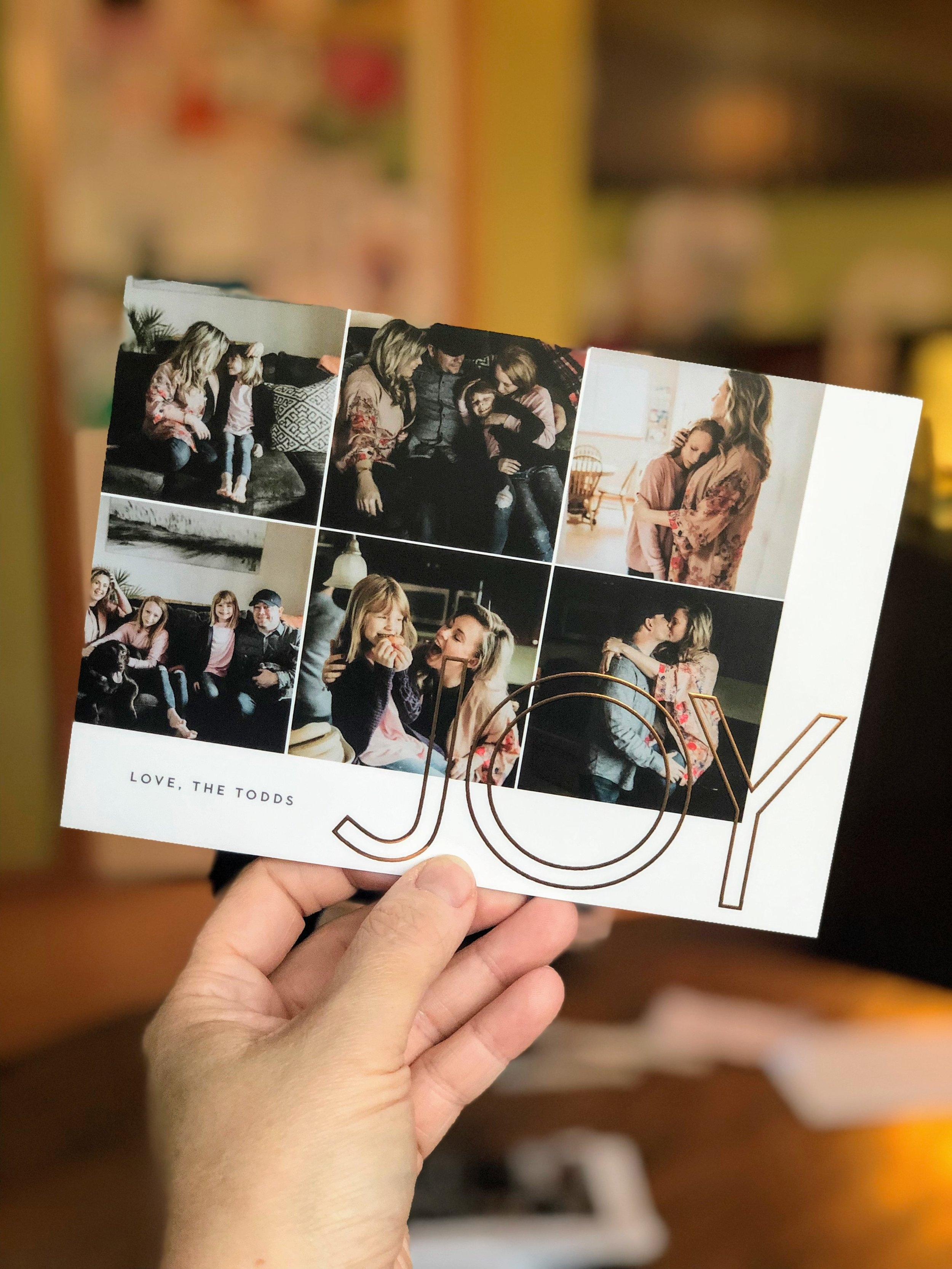 Big Joy Foil Square Card - We choose a square card, rose gold foil, raised foil, back print