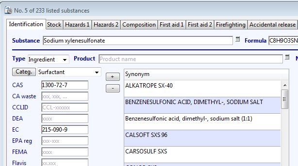 Example of a surfactant in the Substance database