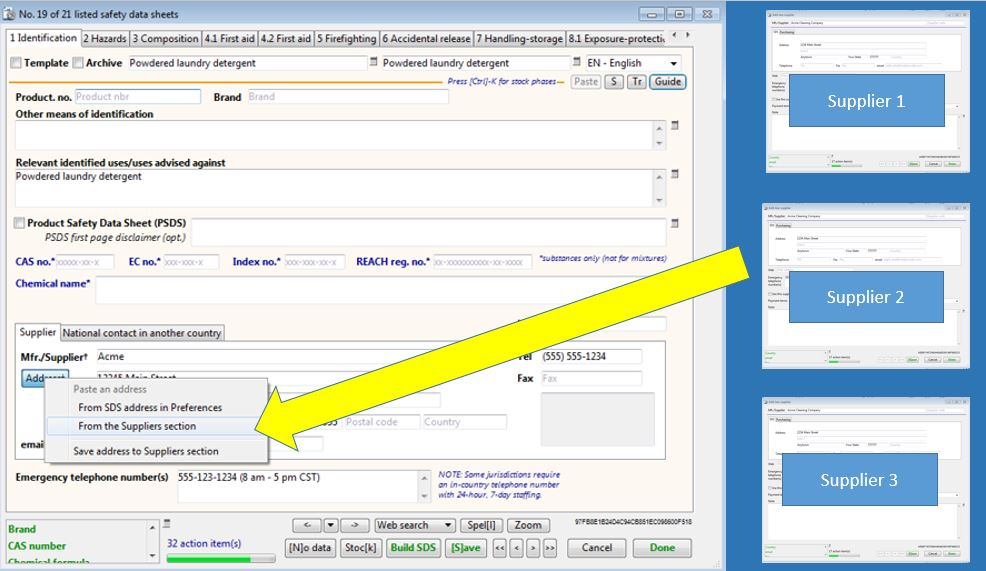 Add your suppliers into SDScribe and easily select them