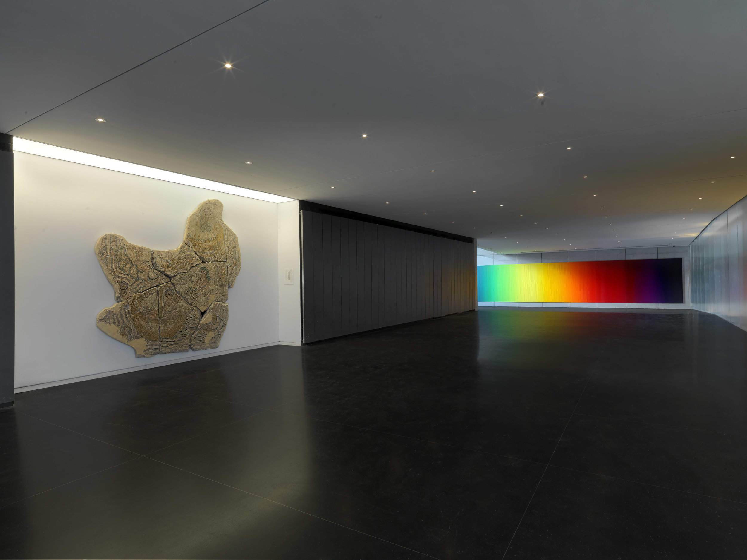 Whenever the Rainbow Appears by Olafur Eliasson and 6th century mosaic floor found in Beit Shean,Photo by Elie Posner