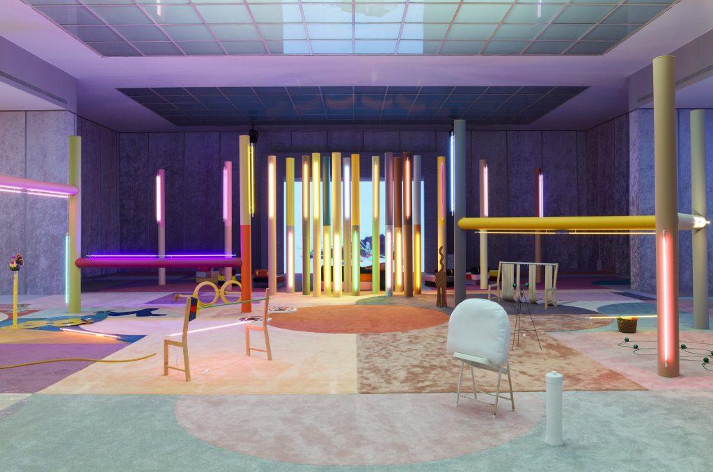 Sophie Thun: Alex Da Corte, Slow Graffiti, exhibition view, Secession 2017. Courtesy Maccarone, New York, Gió Marconi, Mailand and David Risley Gallery, Kopenhagen,