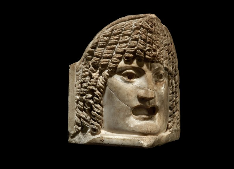 CREDIT: Gallery. Kallos Gallery. A Roman marble theatre mask acroterion, 3rd century AD