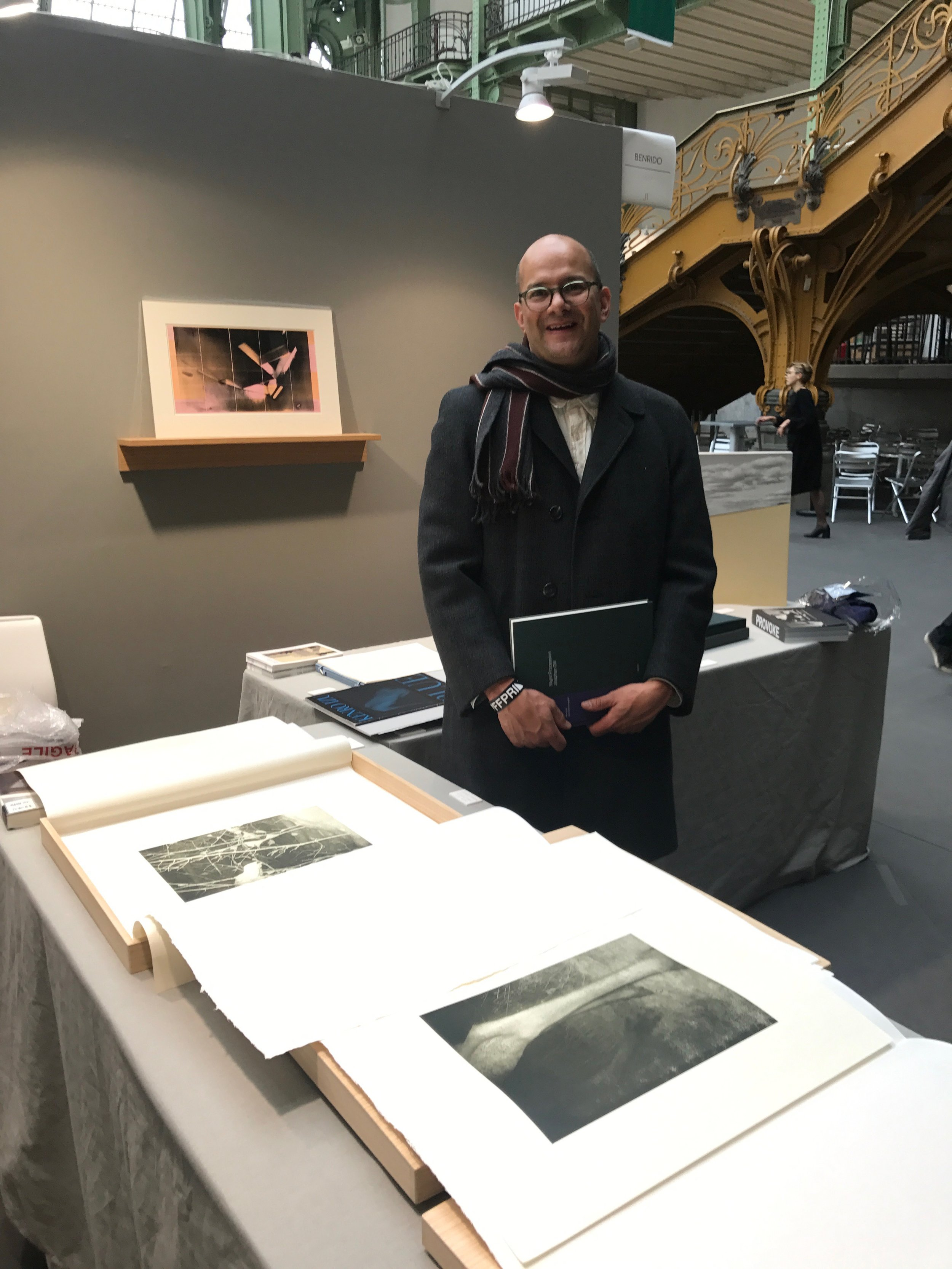 "Stephen Gill standing by his ""Night Procession"" collotype prints and portfolio box, Edition of 12, Benrido Atelier, Kyoto"