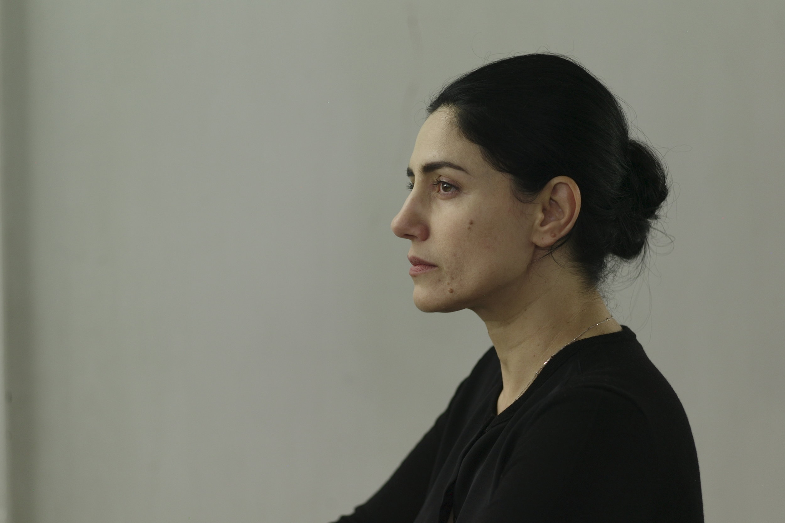 "Ronit Elkabetzon the set of ""Gett: The Trial of Viviane Amsalem,"" directed by Ronit and ShlomiElkabetz. Image courtesy of ShlomiElkabetz © Photographer: Amit Berlowitz"