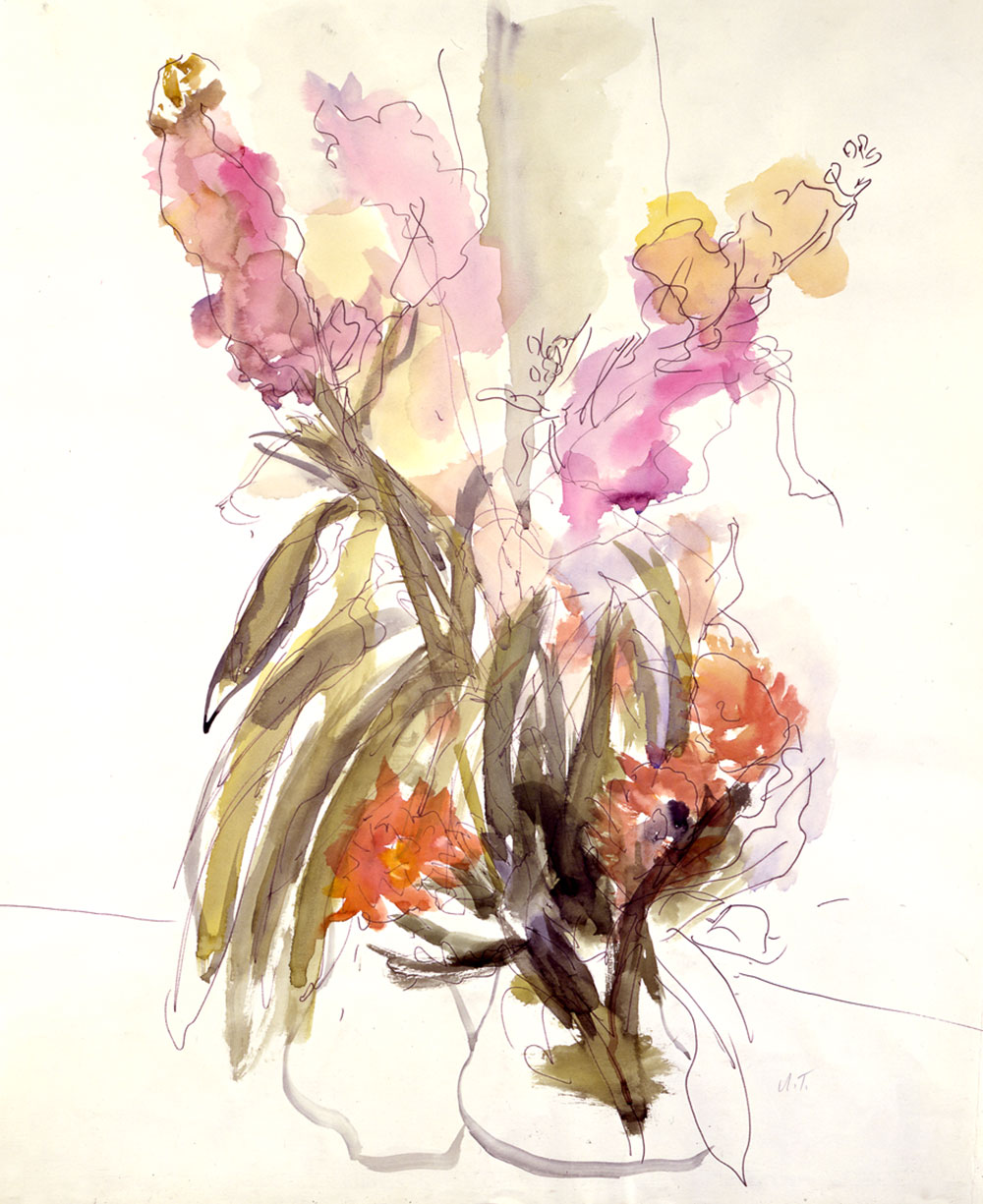 Anna Ticho, Israeli, born in Moravia 1894-1980, Vase with Red and Yellow Gladioli, 1969 Watercolor and graphite on paper, 76x63 cm, The Israel Museum, Jerusalem, Anna Ticho Bequest