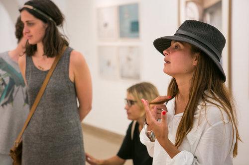 Jenna leading an art tour in Jerusalem