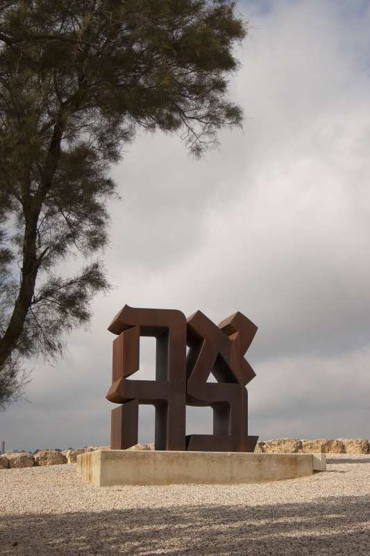 A work by Robert Indiana in the sculpture garden at The Israel Museum