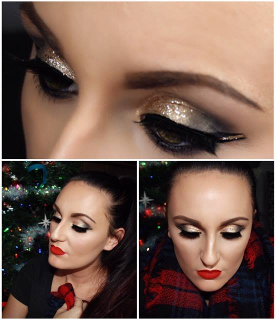 Gold glitter, double winged liner with red lips!! Merry Christmas!