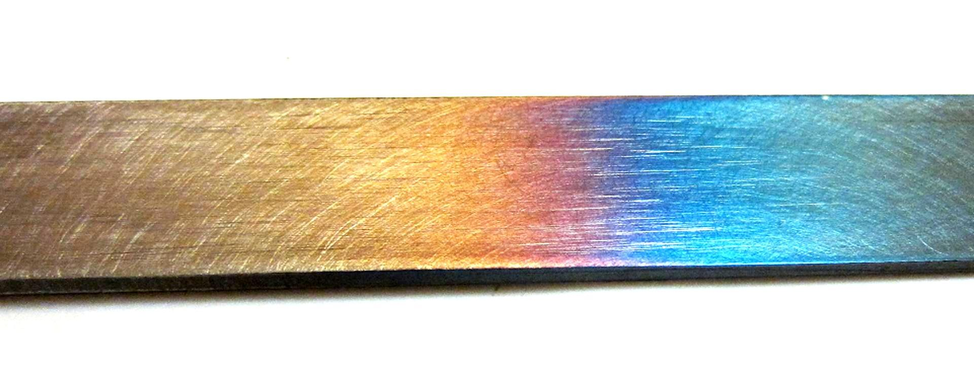 Tempering color phases of steel (Wikipedia).