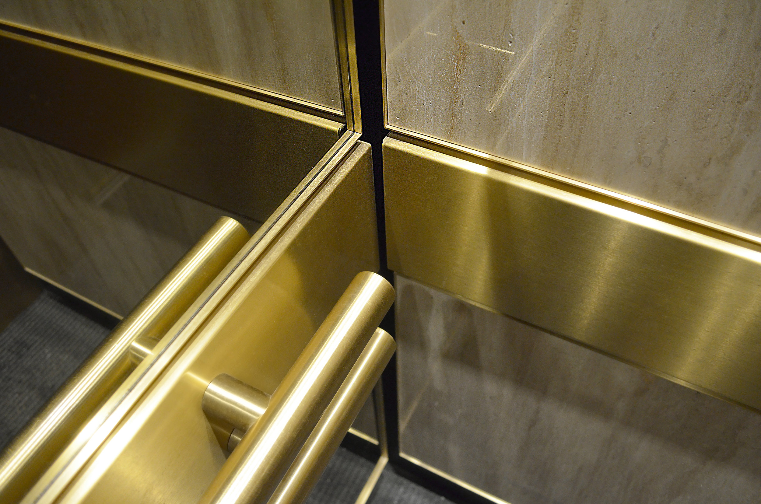 Rear Wall Brass Handrails
