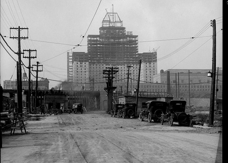 Royal York Hotel Under Construction, 1927 (ish). Looking North from York St/Harbour Front.