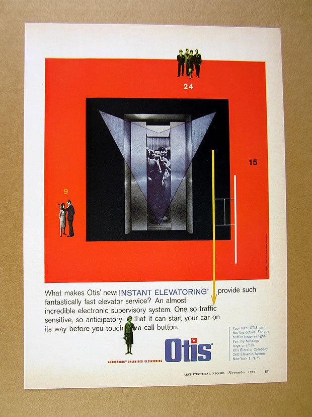 1964 Otis Elevator Instant Elevatoring color art vintage print Ad.jpg