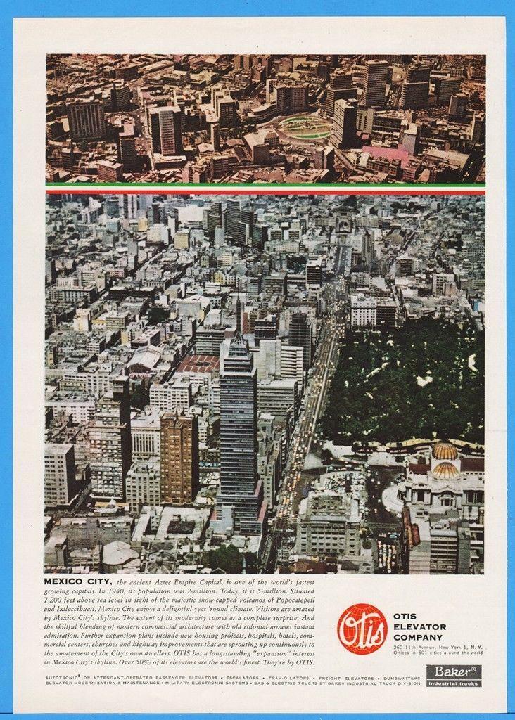1960 Otis Elevator Company Mexico City Aztec Empire Capital Skyline Print Ad