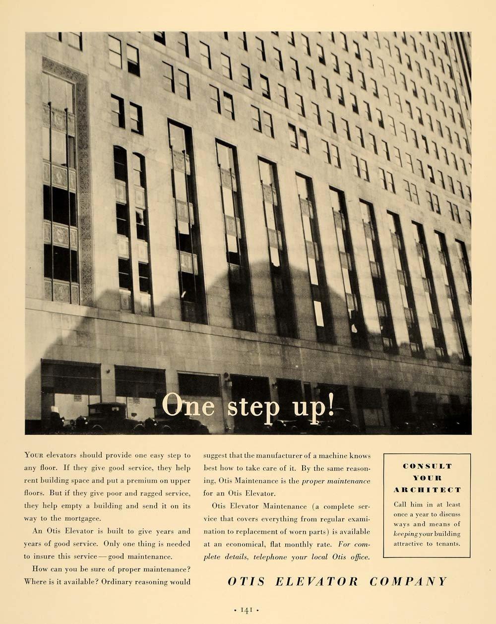 1935 Ad Otis Elevator Manufacturer Maintainer Building