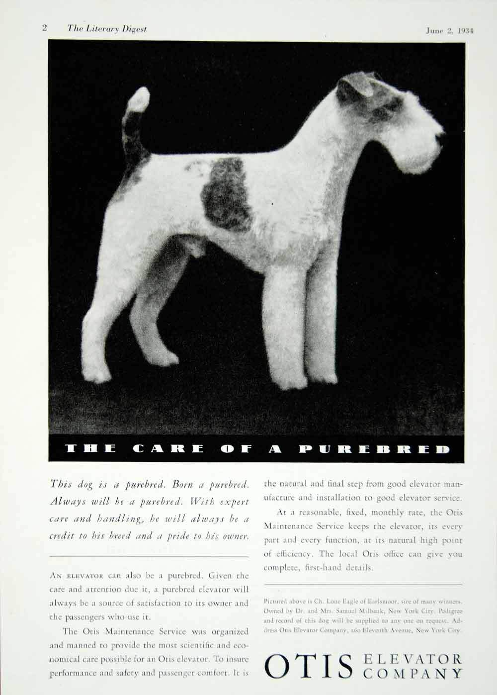 1934 Ad Otis Elevator Company Electric Machinery Purebred Airedale Terrier
