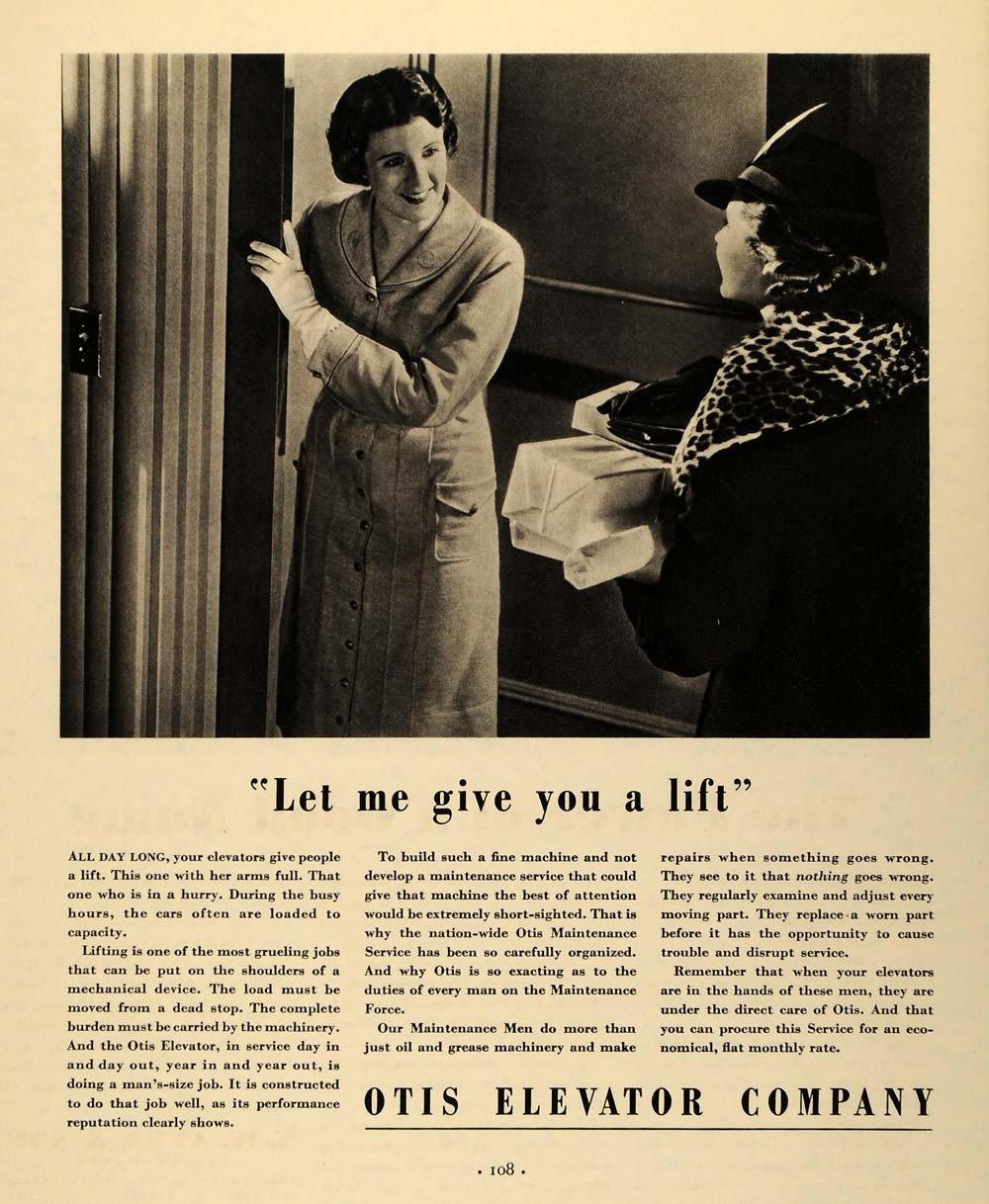 1935 Ad Otis Elevator Lift Ladies Holding Door Coats - ORIGINAL ADVERTISING F3A.jpg