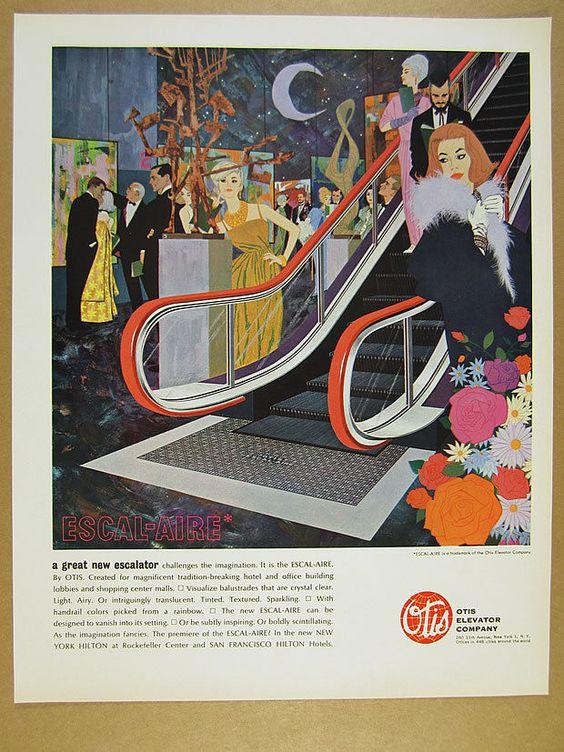 1962 Otis Elevator Escal-Aire Escalator gallery fashion art vintage print Ad.jpg