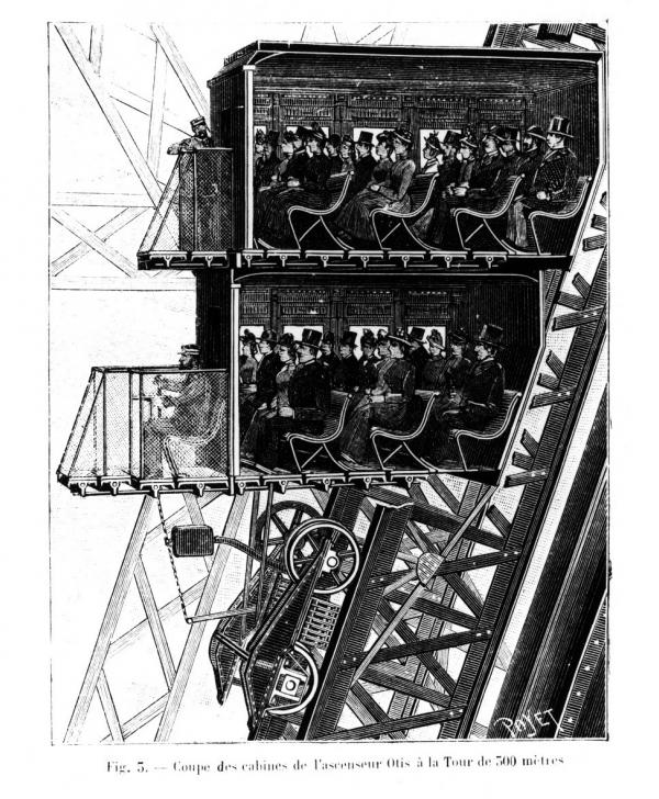 1_   Contemporary illustration of the third level lifts in the Eiffel Tower Poyet, published in La Nature, May 4, 1889, vol. 17, p. 361