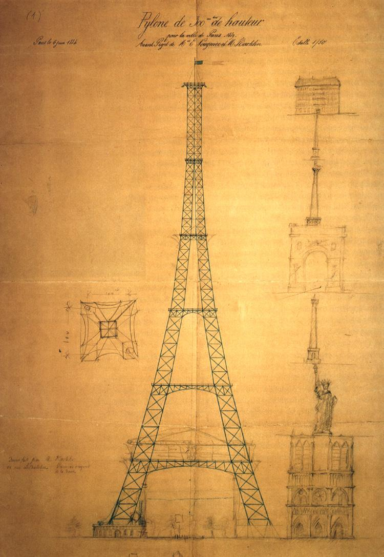 First drawing of the Eiffel Tower by Maurice Koechlin including size comparison with other Parisian landmarks such as  Notre Dame de Paris , the  Statue of Liberty  and the  Vendôme Column