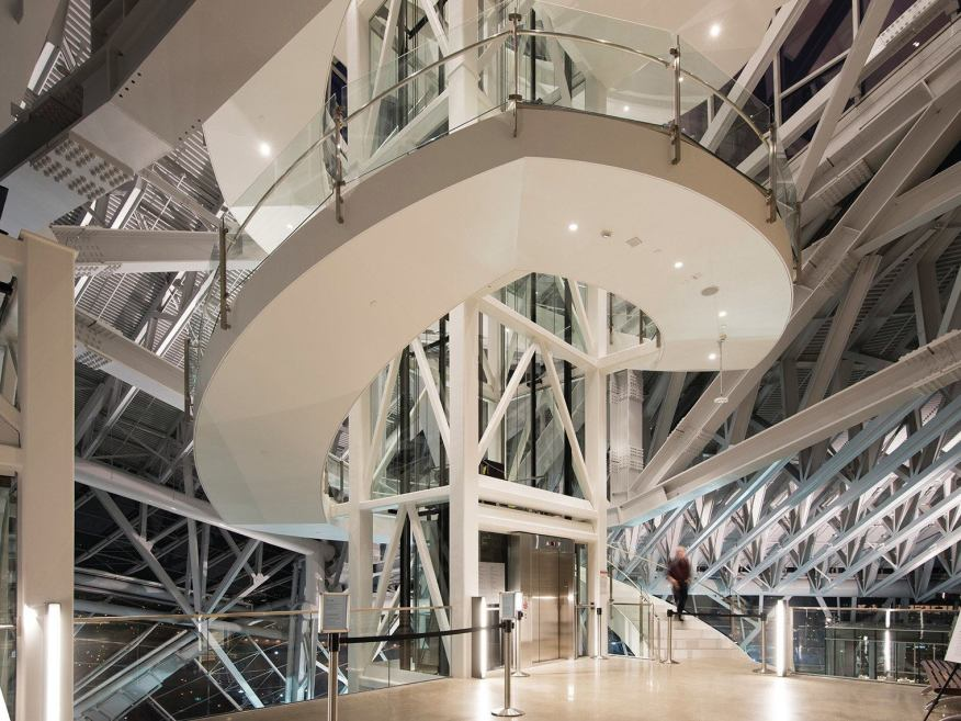 Central staircase in the atrium, viewed at night