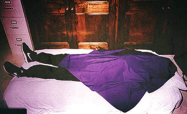 Crime scene photo of a Heaven's Gate member
