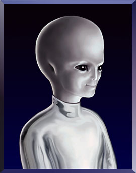 What the website claims a person looks like after reaching The Evolutionary Level Above Human