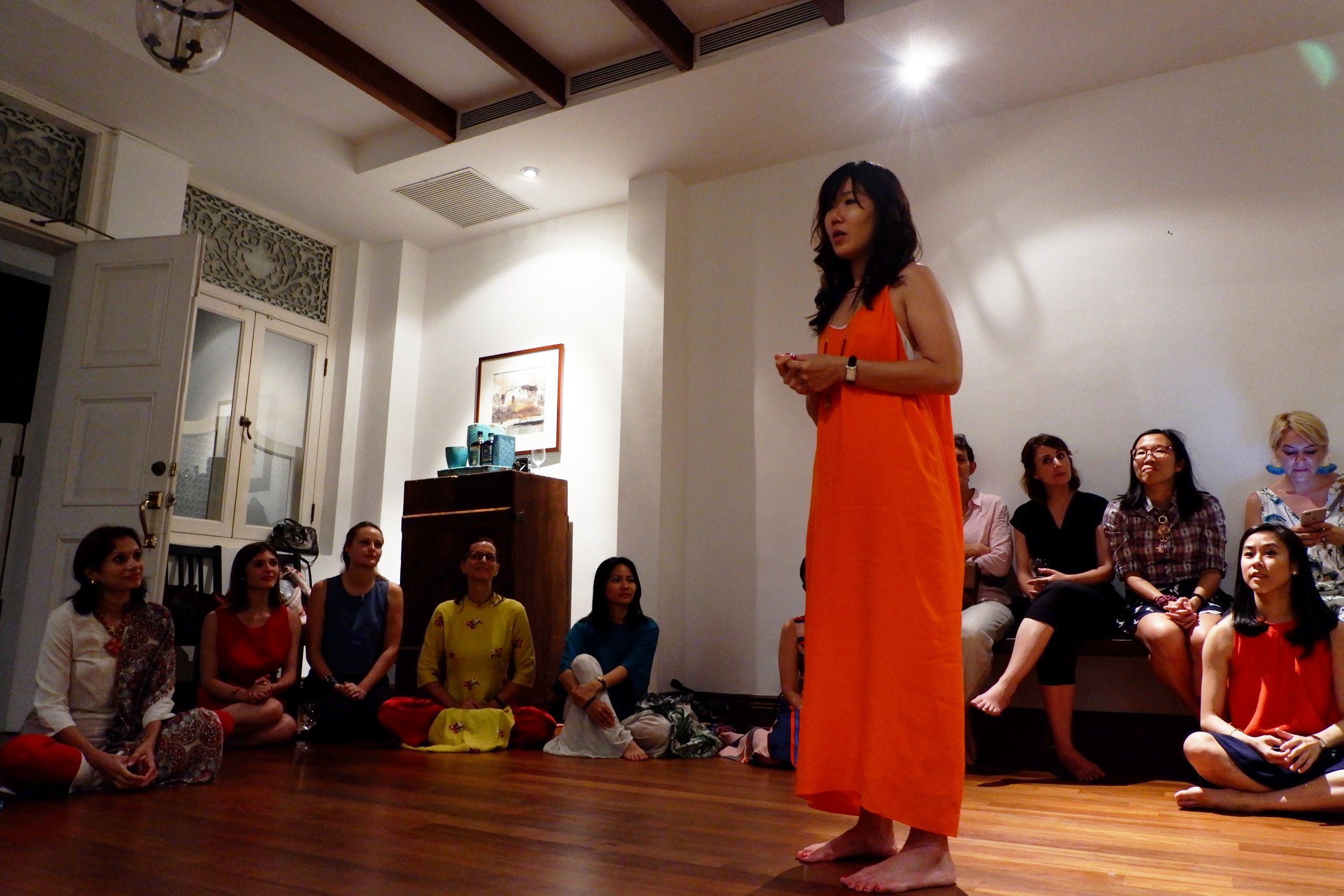 The soulful singing bowl session by Jolie Ow, Canvass   Yoga and Art Studio creator.