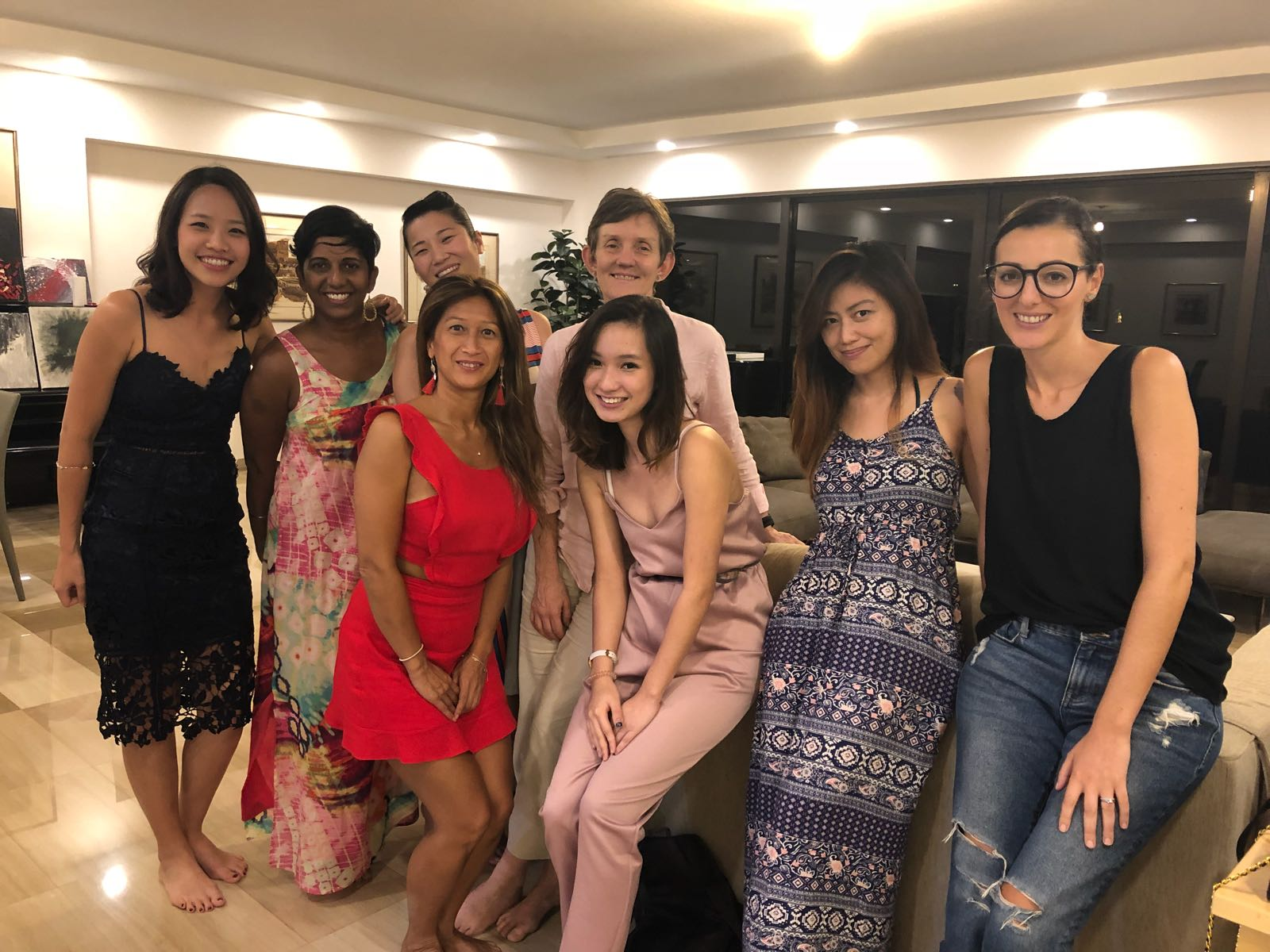 Two of the beautiful hosts for BLOOM 2018: Beverly Hiong and Cécile Spirit with guests Julienne Chan, Fiona Silva, Damaris Carlisle, Akiko Otao, Charlie Leong, Nawel Hammoumraoui.