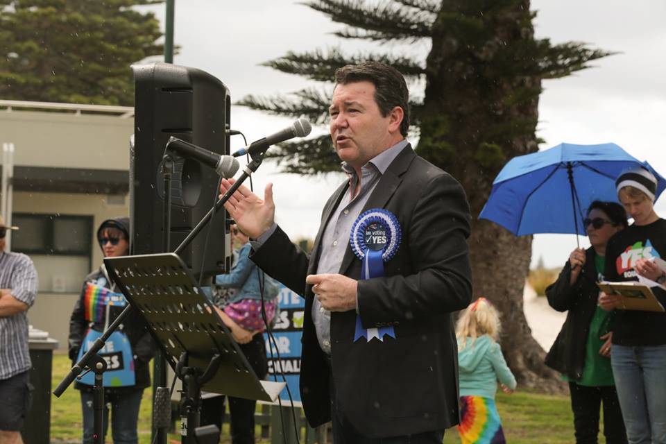 Senator Dean Smith talking at the Marriage Equality Rally at Middleton Beach
