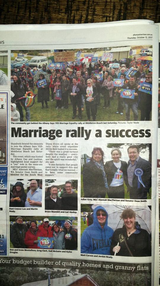 Our local paper featuring the Marriage Rally at Middleton Beach with Senators Alana McTiernan and Dean Smith