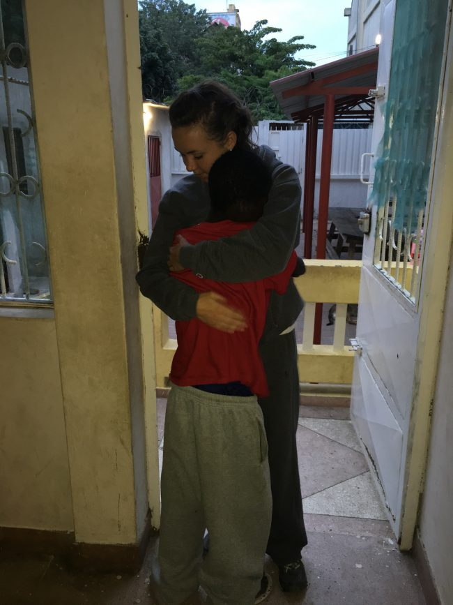 Big hug after photographing him for the painting