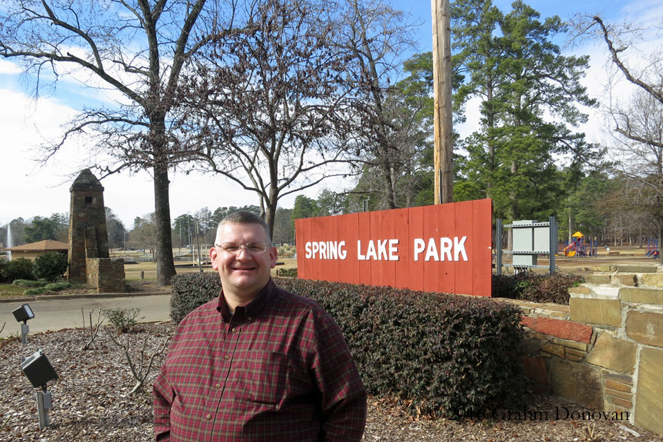Standing at the entrance to Spring Lake Park, in January 2014
