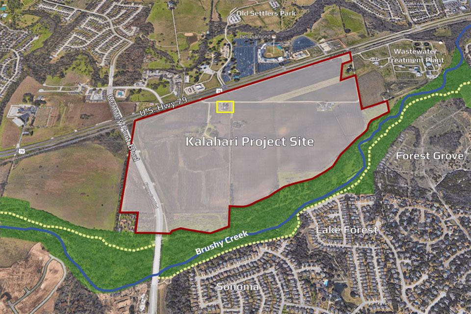 Proposed site of Kalahari Resort and Conventions in Round Rock, Texas The yellow box marks the location of the Rhodes house from  Children of the Corn IV