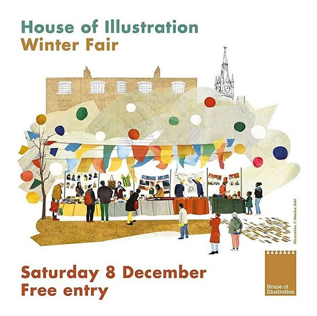 Come and find me this Saturday at the #IllustrationWinterFair at @illustrationHQ 🎄 I'll be sharing a table with the very talented @anya_glazer and we'll have lots of original goodies for sale, including Xmas cards, prints, homeware plus signed copies of our children's books ✨We'll be amongst 100 other illustrators in the The Granary Building from 11-5 ✨ Winter fair illustration by #NatskoSeki