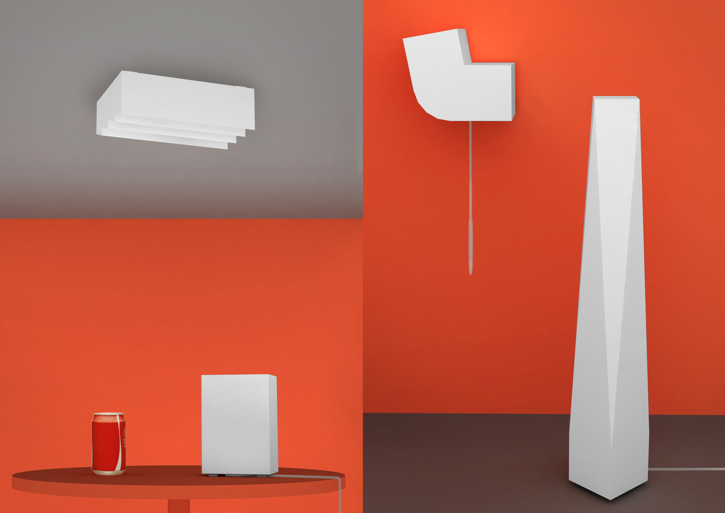 each lamp can be used as either ceiling, floor, wall or table lamp. lights off