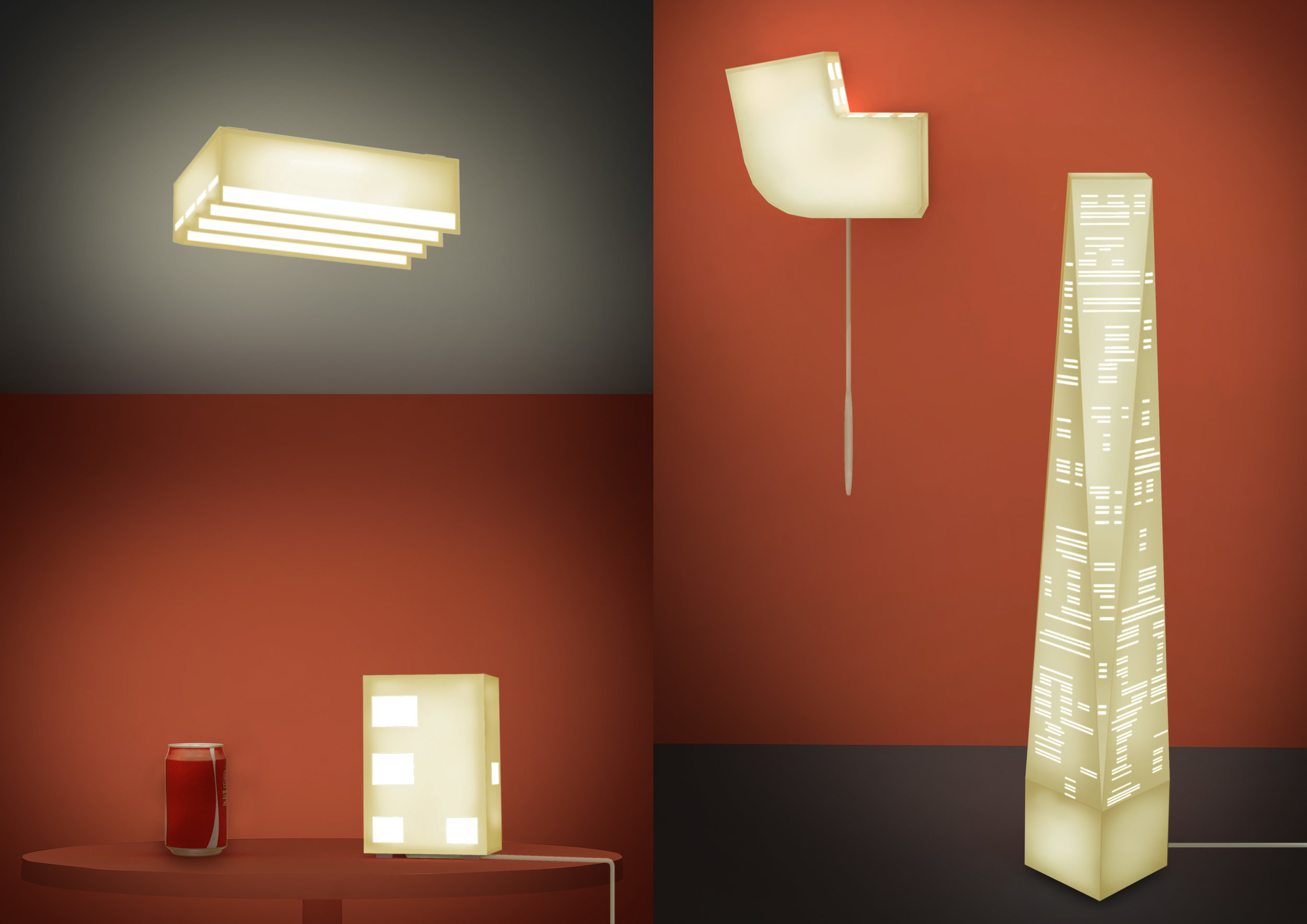 each lamp can be used as either ceiling, floor, wall or table lamp. lights on
