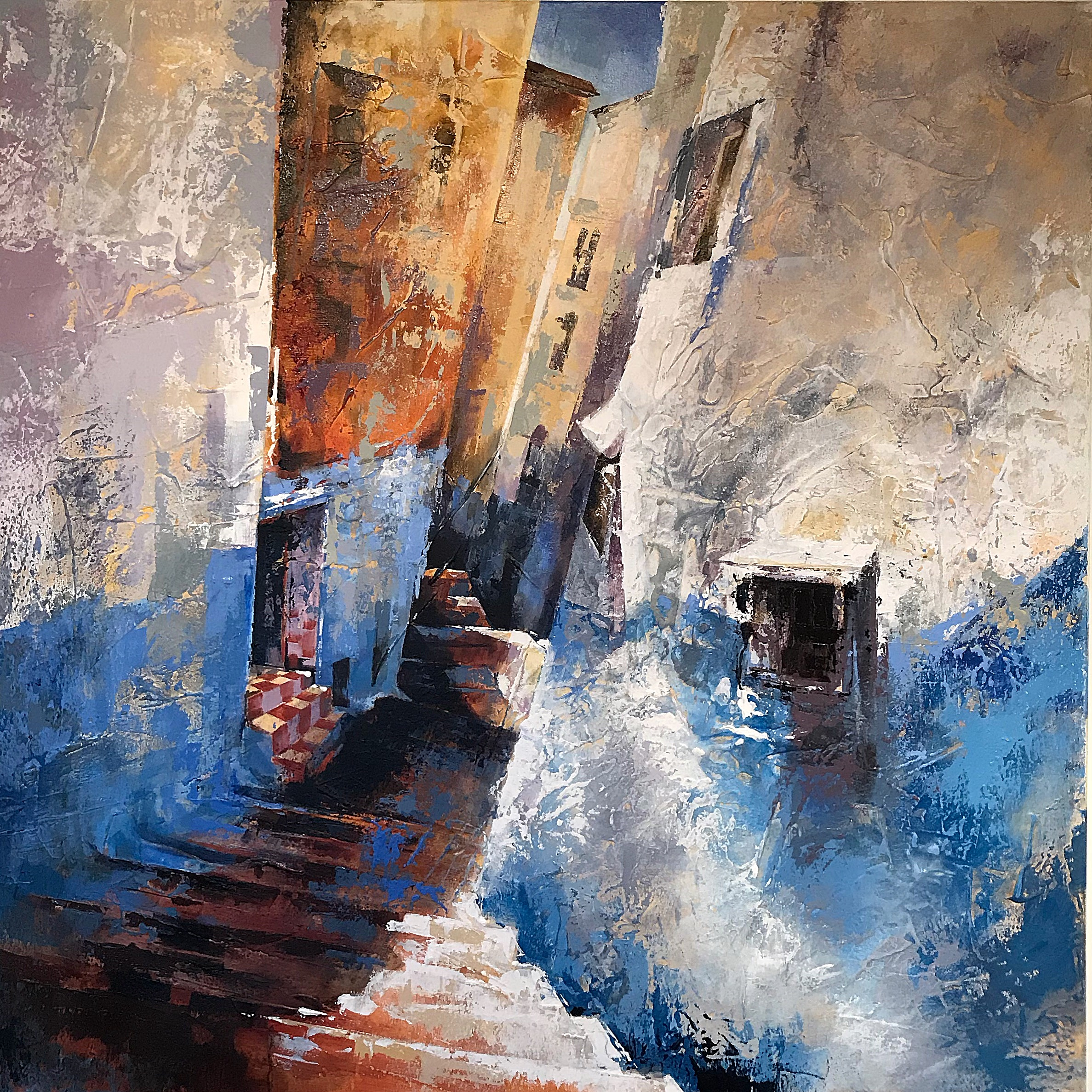 'Blue Village Street'  SOLD