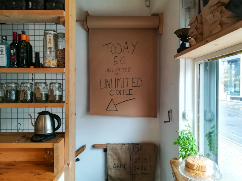 Unlimited coffee in Little Man Coffee, Cardiff