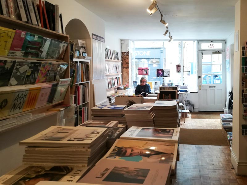 Interior of Magalleria, an independent magazine shop in Bath