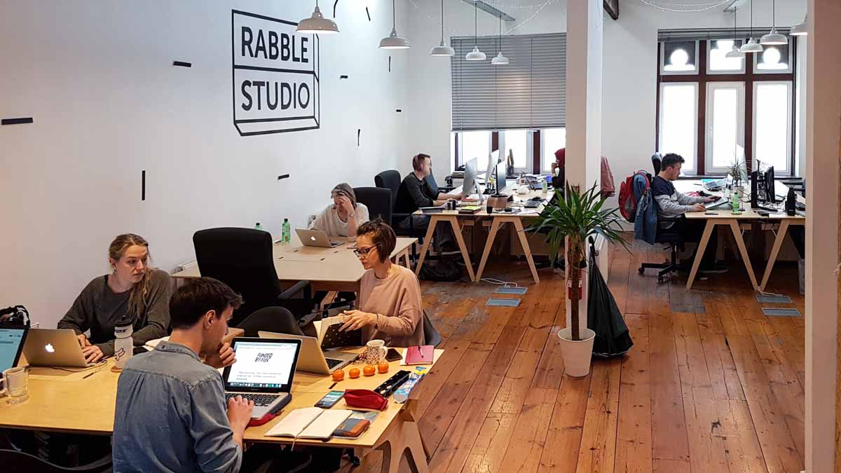 Main coworking space at Rabble Studio